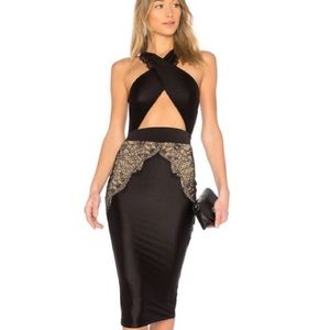 NEW NWT Michael Costello Lace Detail Midi Dress S